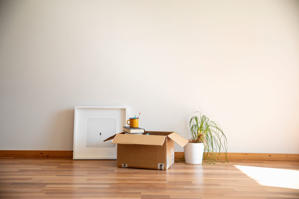 Puuparkettilattialla on muuttotavaroita: pahvilaatikko, jossa kirjoja, viherkasvi ja taulu.