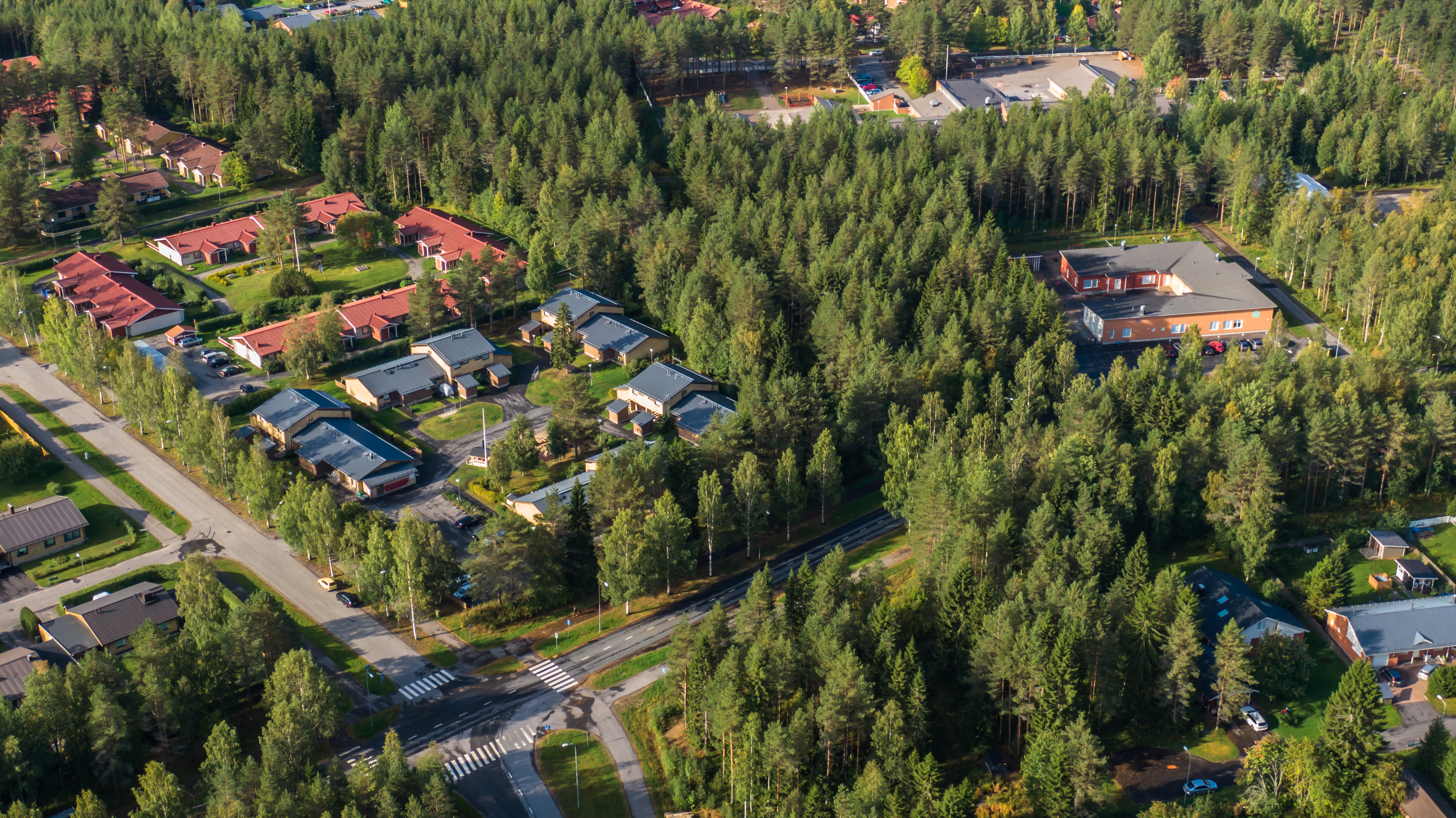 Kesällä dronen avulla otettu ilmakuva: Oulu, Hönttämäki. Maisemaa alueelta. Puita ja taloja.