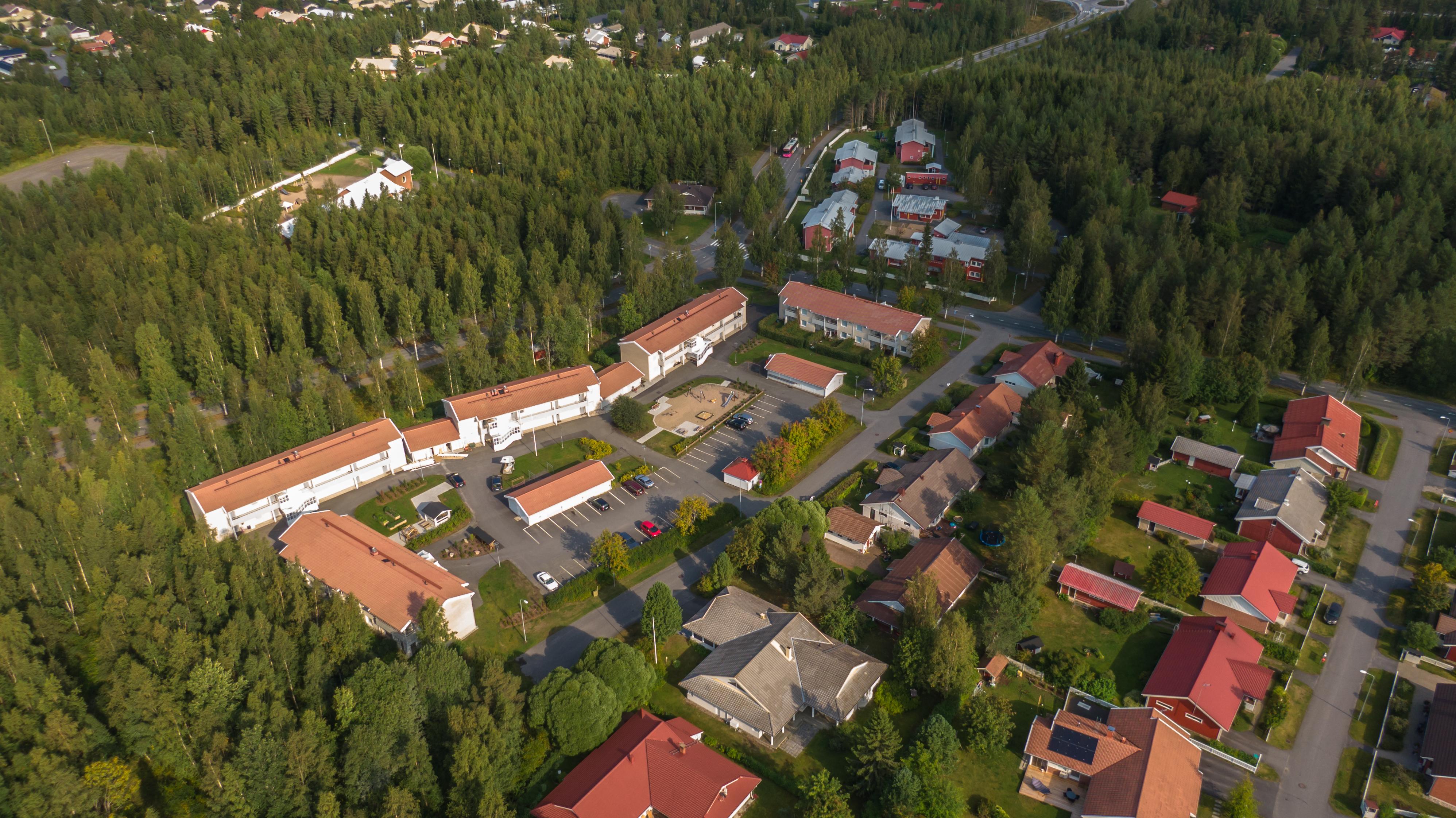 Vajaan 100 metrin korkeudelta otettu ilmakuva Oulun Iinatista. Metsän ympäröimää asuinaluetta, jossa punakattoisia taloja.