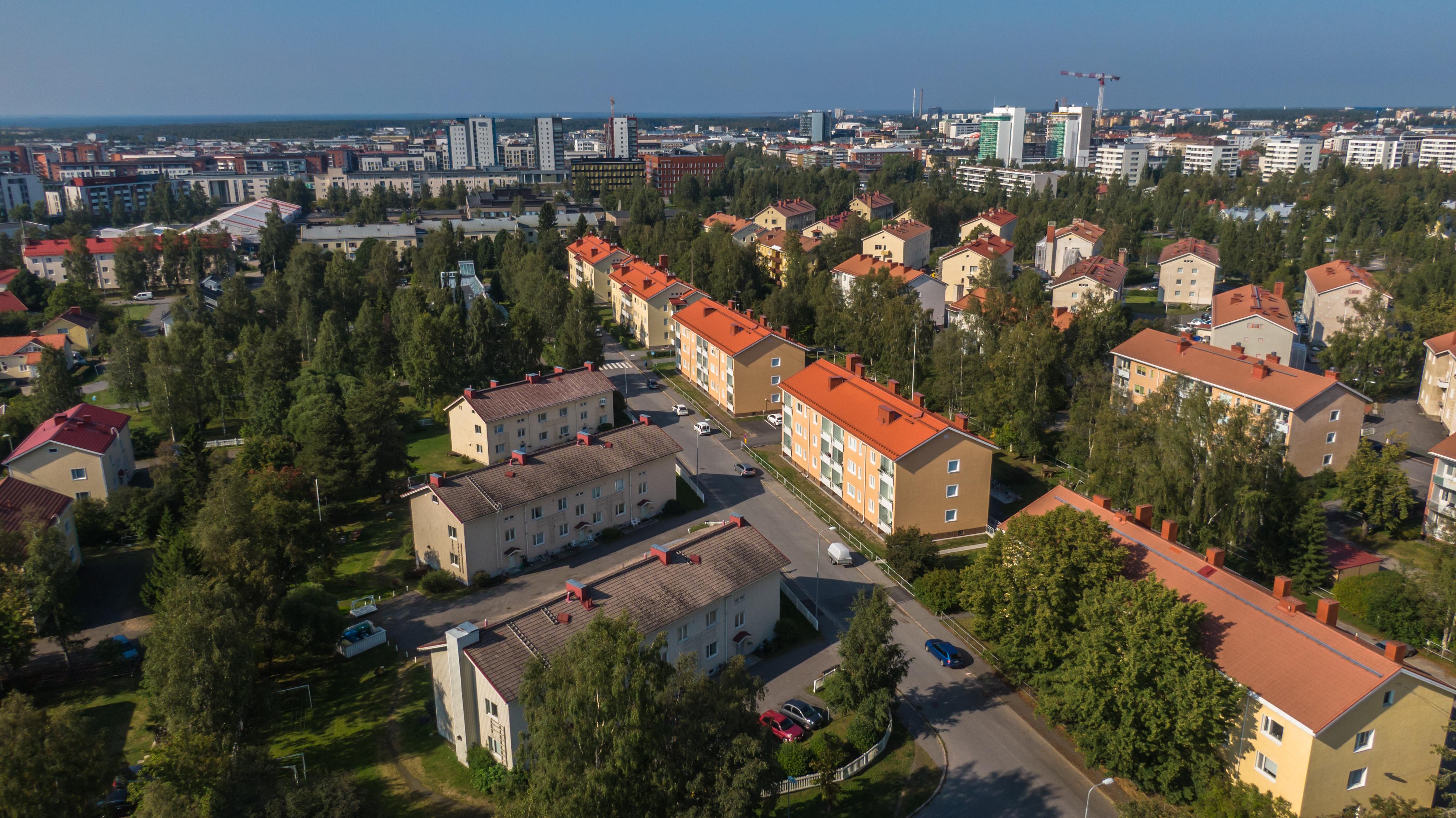 Oulun Karjasillan asuinaluetta ilmasta kuvattuna. Kesäistä rauhallista asuinaluetta. Keltaisia kerrostaloja, taustalla modernia Oulun kaupunkia.